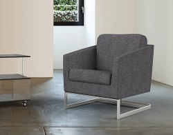 ARMCHAIR APOLLO GREY FABRIC AND BRUSHED STAINLESSS STEEL 68x80x82 CM (AC020G1)