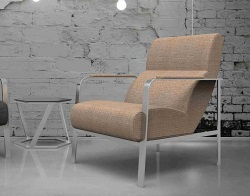 ARMCHAIR CYRANO TAUPE FABRIC AND BRUSHED STAINLESSS STEEL 66 x81 x 85 CM (AC022M2)