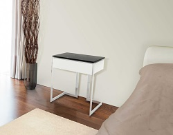 BEDSIDE TABLE CONDUCTION TINTED GREY POLISHED STAINLESS STEEL 45x45x55 CM (ET015G)