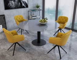 CHAIR CHARLESTON FIXE OCHER YELLOW FABRIC AND POLYURETHANE L59,5XP56XH83-48,5 CM (CH096J)