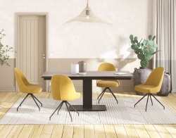 CHAIR MIAMI ASSISE PIVOTANTE OCHER YELLOW FABRIC L52XP63XH90-48.5 CM (CH101J)