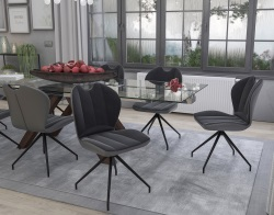 CHAIR NEW YORK ASSISE PIVOTANTE CHARCOAL FABRIC AND POLYURETHANE L50XP63.5XH89-48.5 CM (CH081G2)