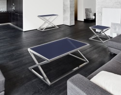 COFFEE TABLE ADORA BLUE TINTED POLISHED STAINLESS STEEL 116x71x45 CM (CT096B)