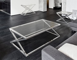 COFFEE TABLE ADORA CLEAR POLISHED STAINLESS STEEL 140x80x45 CM (CT094C)