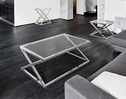 COFFEE TABLE ADORA CLEAR POLISHED STAINLESS STEEL 116x71x45 CM (CT096C)