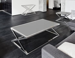 COFFEE TABLE ADORA LACQUERED GREY POLISHED STAINLESS STEEL 140x80x45 CM (CT094LG)