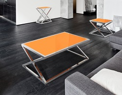 COFFEE TABLE ADORA LACQUERED ORANGE POLISHED STAINLESS STEEL 116x71x45 CM (CT096LO)