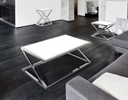 COFFEE TABLE ADORA WHITE LACQUERED POLISHED STAINLESS STEEL 116x71x45 CM (CT096LW)