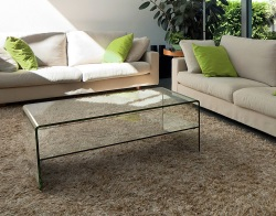 COFFEE TABLE ATENA VERRE CLAIR CLEAR HOT BENT GLASS 120x60x42 CM (CT072)