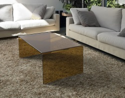 COFFEE TABLE ATENA SEPIA HOT BENT GLASS 110X60X40 CM (CT071P)