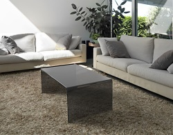 COFFEE TABLE ATENA TINTED GREY HOT BENT GLASS 110X60X40 CM (CT071G)