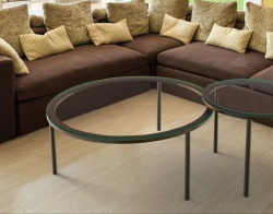 COFFEE TABLE BELLA CRYSTAL BLACK EPOXY PAINTED STEEL Ø90x38 CM (CT045R)