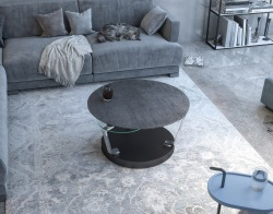COFFEE TABLE CADRAN TITANIUM CERAMICS BLACK EPOXY PAINTED STEEL 77x43 CM (103X132) (CT296TI)