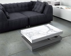 COFFEE TABLE CELIA MARBRE LACQUERED GREY MDF 110x70x39 CM (CT113LG)