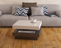 COFFEE TABLE CELIA ROULETTE LACQUERED GREY MDF - WHEELS 70x70x36 CM (CT130LG)