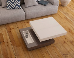 COFFEE TABLE CELIA ROULETTE LACQUERED TAUPE MDF - WHEELS 70x70x36 CM (CT130LT)