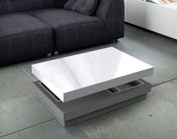 COFFEE TABLE CELIA LACQUERED GREY MDF 110x70x39 CM (CT111LG)