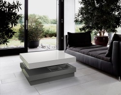 COFFEE TABLE CELIA LACQUERED GREY MDF LACQUERED 90x90x39 CM (CT105LG)