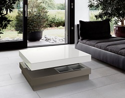 COFFEE TABLE CELIA LACQUERED TAUPE MDF 90x90x39 CM (CT105LT)