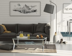 COFFEE TABLE DELTA CLEAR POLISHED STAINLESS STEEL 110x65x40 CM (CT100C)