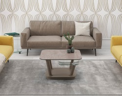 COFFEE TABLE DYNAMIQUE ARGILE CERAMICS TAUPE LACQUERED STEEL 80x80x45 CM (CT298AR)