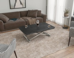 COFFEE TABLE ENORA TITANIUM CERAMICS POLISHED STAINLESS STEEL 120/190x75x38/82 CM (CT200TI)