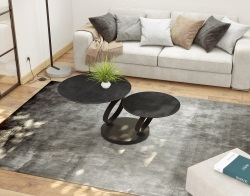 COFFEE TABLE EOLIA BLACK DOUBLE CERAMIQUE TITANIUM CERAMICS BLACK LACQUERED STEEL 75/130x41,5 CM (CT325TI)