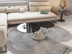 COFFEE TABLE EOLIA TINTED GREY CHROMED STEEL 75/130x41,5 CM (CT125G)
