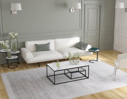 COFFEE TABLE JULIA ETAGERE MAT MARBLE CERAMICS BLACK EPOXY PAINTED STEEL 110x65x40 CM (CT310MA_C)