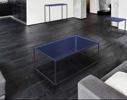 COFFEE TABLE JULIA BLUE TINTED BLACK EPOXY PAINTED STEEL 110x65x40 CM (CT180B)