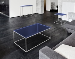 COFFEE TABLE JULIA BLUE TINTED BRUSHED STAINLESS STEEL 110x65x40 CM (CT182B)