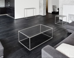 COFFEE TABLE JULIA CLEAR BRUSHED STAINLESS STEEL 110x65x40 CM (CT182C)