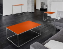 COFFEE TABLE JULIA LACQUERED ORANGE BRUSHED STAINLESS STEEL 110x65x40 CM (CT182LO)