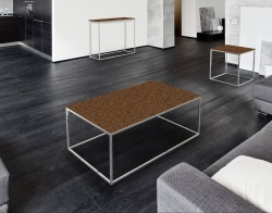 COFFEE TABLE JULIA SANDSTONE BROWN BRUSHED STAINLESS STEEL 110x65x40 CM (CT182GB)