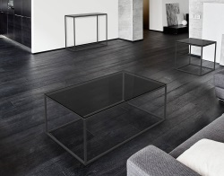 COFFEE TABLE JULIA TINTED GREY BLACK EPOXY PAINTED STEEL 110x65x40 CM (CT180G)