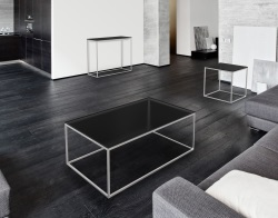 COFFEE TABLE JULIA TINTED GREY BRUSHED STAINLESS STEEL 110x65x40 CM (CT182G)