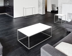 COFFEE TABLE JULIA WHITE ACID ETCHED BRUSHED STAINLESS STEEL 110x65x40 CM (CT182LWA)