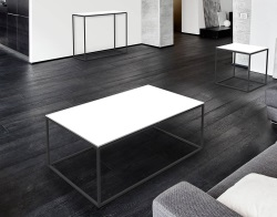 COFFEE TABLE JULIA WHITE LACQUERED BLACK EPOXY PAINTED STEEL 110x65x40 CM (CT180LW)