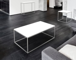 COFFEE TABLE JULIA WHITE LACQUERED BRUSHED STAINLESS STEEL 110x65x40 CM (CT182LW)