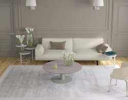 COFFEE TABLE LUNA ARGILE CERAMICS FLINT GREY LACQUERED STEEL 110X110/68X40 CM (CT015AR)