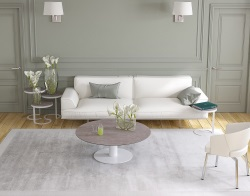 COFFEE TABLE LUNA ARGILE CERAMICS WHITE LACQUERED STEEL 110X110/68X40 CM (CT019AR)