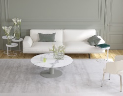 COFFEE TABLE LUNA MAT MARBLE CERAMICS FLINT GREY LACQUERED STEEL 110X110/68X40 CM (CT015MA)