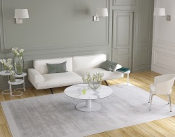 COFFEE TABLE LUNA MAT MARBLE CERAMICS WHITE LACQUERED STEEL 110X110/68X40 CM (CT019MA)