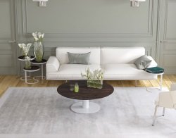 COFFEE TABLE LUNA STEEL CERAMICS WHITE LACQUERED STEEL 110X110/68X40 CM (CT019SD)