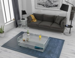 COFFEE TABLE MIKA AVEC TABLETTE CRYSTAL ACID ETCHED HOT BENT GLASS 114x66x42 CM (CT076RA)