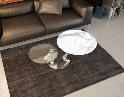 COFFEE TABLE OMEGA MAT MARBLE CERAMICS CHROMED STEEL 139/105x80x40 CM (CT124MA)