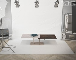 COFFEE TABLE OPERA BICOLORE ARGILE CERAMICS TAUPE LACQUERED STEEL (150-90)x60x42 CM (CT099AR)