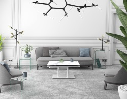 COFFEE TABLE OPERA DOUBLE PLATEAU CERAMIQUE MAT MARBLE CERAMICS WHITE LACQUERED STEEL (150-90)x60x42 (CT188MA)