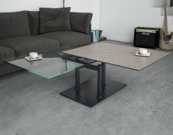 COFFEE TABLE OPERA ARGILE CERAMICS BLACK LACQUERED STEEL (150-90)x60x42 CM (CT097AR)