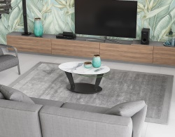 COFFEE TABLE OVALIA MAT MARBLE CERAMICS BLACK LACQUERED STEEL 95X60X43 CM (CT134MA)